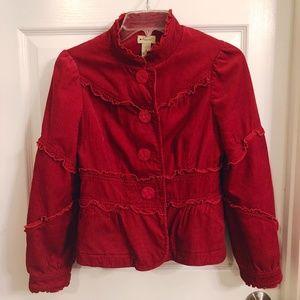 Red ruffle Anthropologie elevenses jacket size 6